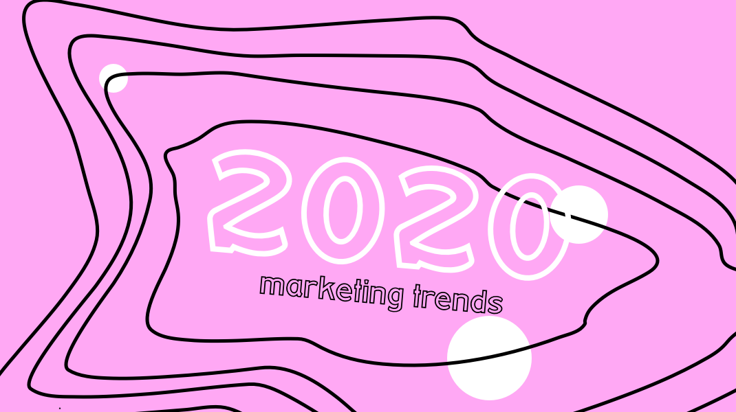 pink background that reads 2020 marketing trends