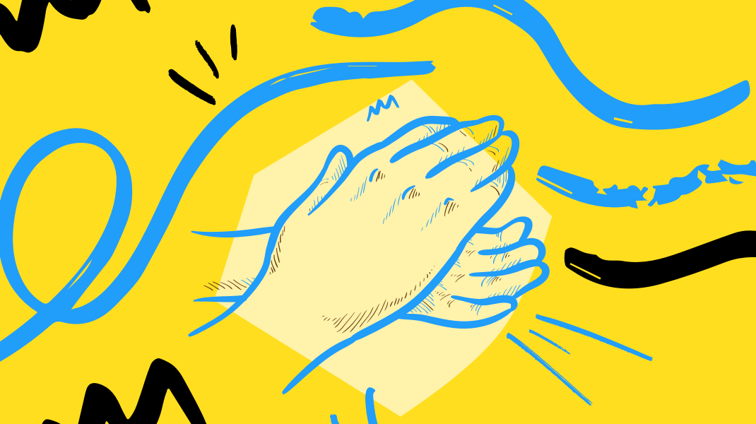yellow background with blue and black swirls and lines and two hands clapping