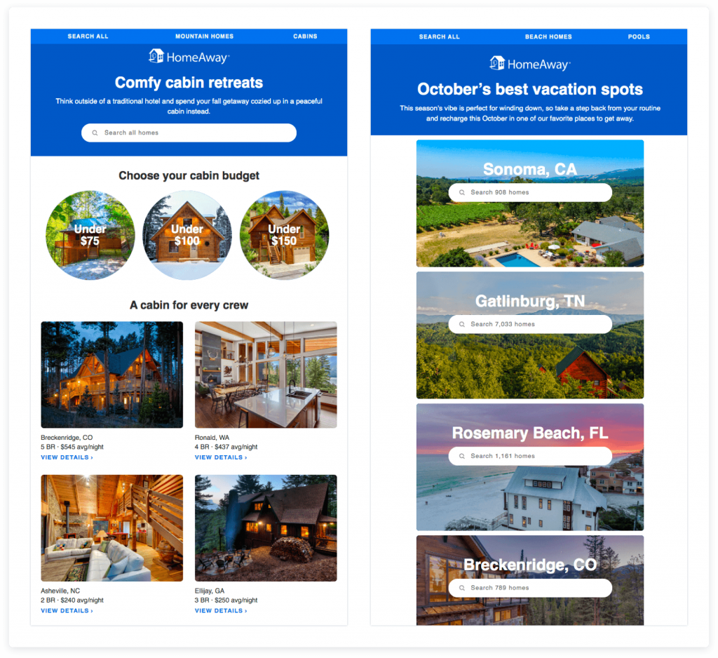 Side by side comparison of two different emails from Homeaway